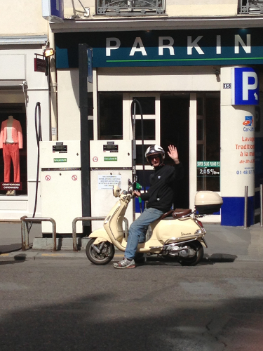 in paris on a scooter