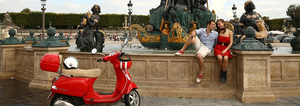 Concorde square in paris by Vespa scooter