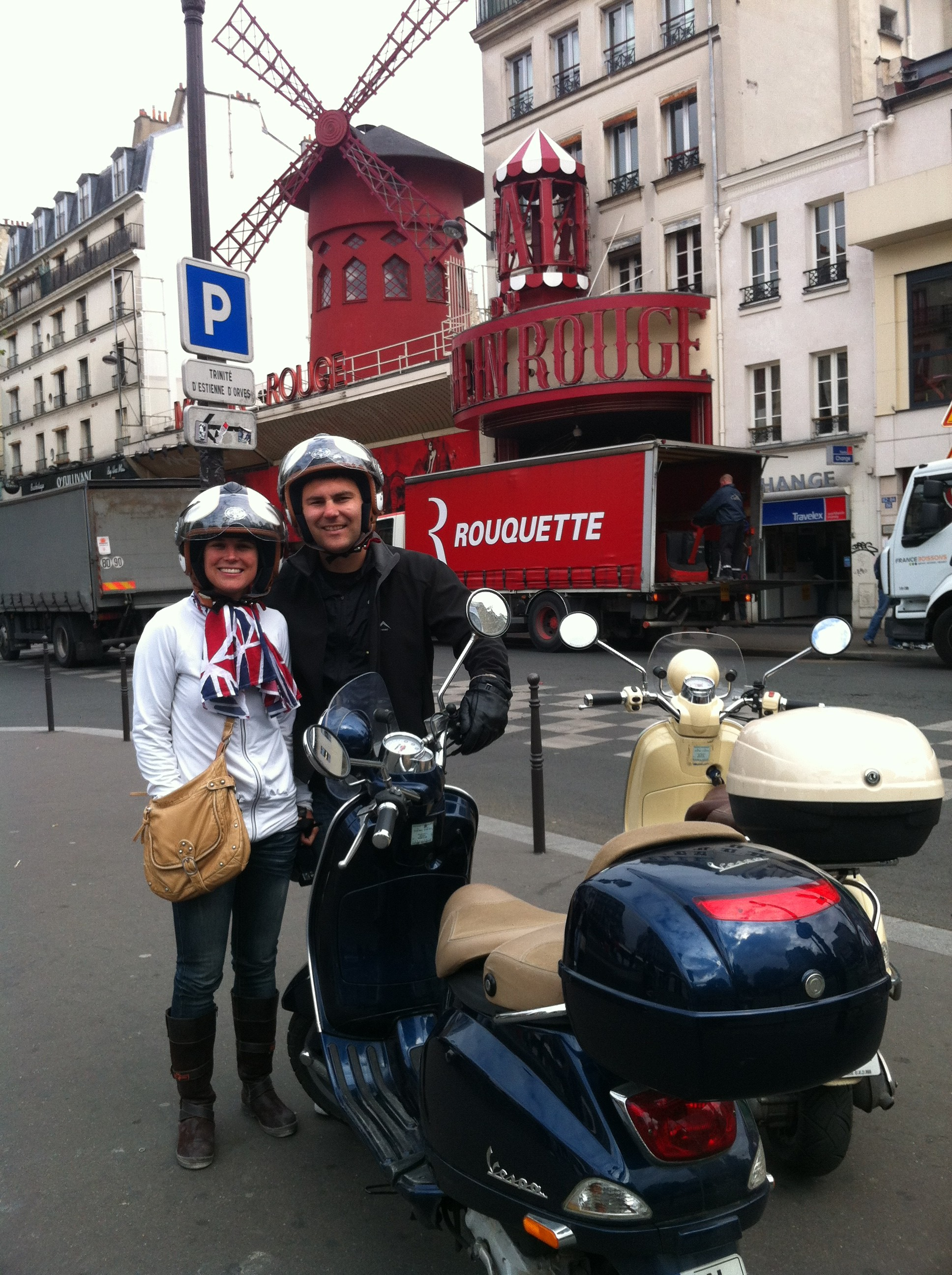 Moulin Rouge Paris by vespa scooter with Andre and his wife during a paris sightseeing tour.