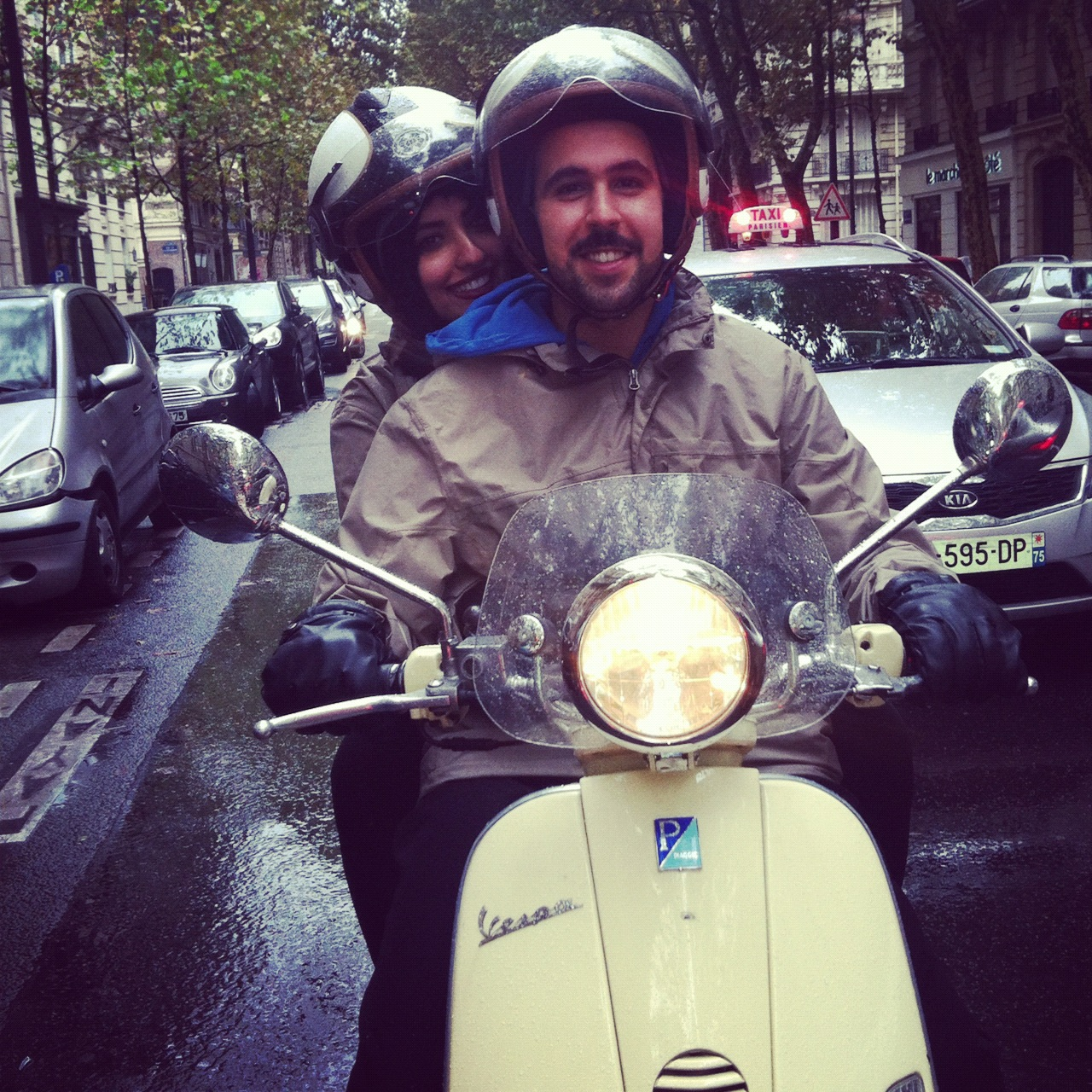 Streets of Paris by Vespa scooter during a Paris sightseeing tour.