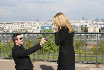 Tony and Courtney. The ring. View of Paris France.