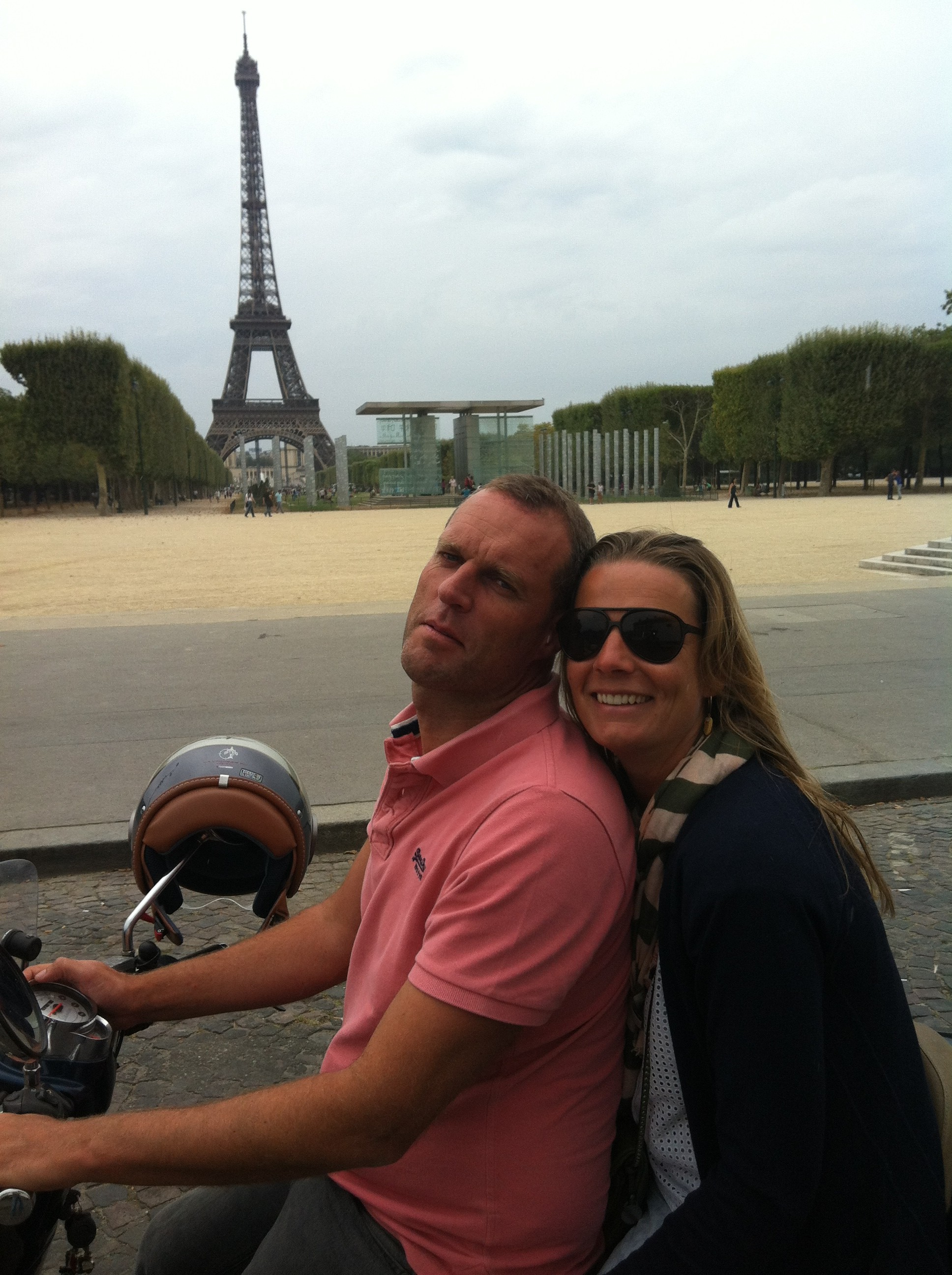 Mieke and Philip at Eiffel Tower and Champs de Mars by scooter.