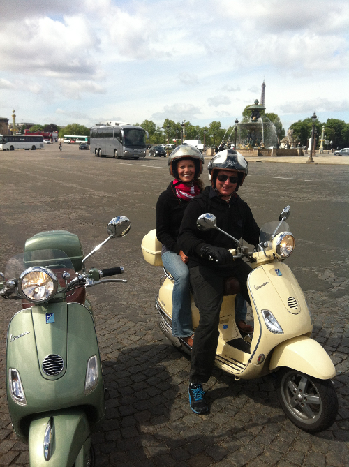 A tour of Paris by scooter during a Paris in a day tour